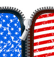Zipper with American Flag vector image