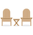 Wooden Garden Chairs And Table vector image