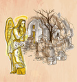 Angel - An hand drawn Line art vector image vector image