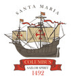 banner with vintage sailing yacht of columbus vector image vector image