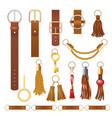 belt elements fashion leather chains fabric vector image