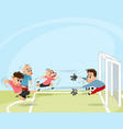 boys playing football outdoors vector image vector image