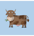 brown cute cow on blue background isolated vector image vector image
