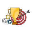 business trophy target gears work winner vector image