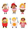 cartoon cute kids in food costumes set vector image