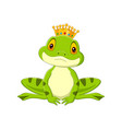 cartoon happy king frog on white background vector image vector image