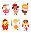 cartoon of cute kids in food costumes set vector image vector image