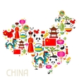 China map design Chinese symbols and objects vector image vector image