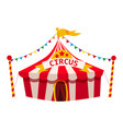 circus tent awning red and white stripes vector image