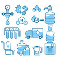 cleaning supplies water filtration isolated icons vector image vector image