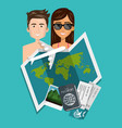 couple with summer vacations set icons vector image