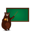 cute cartoon bear teacher holding pointerand vector image