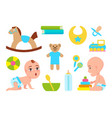 cute infants with toys color vector image