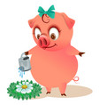 cute piggy watering flower cartoon animal