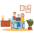 dad mom and son sitting together near table vector image