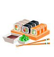 different sushi isolated on white background vector image vector image