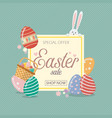easter sale banner template with bunny rabbit vector image
