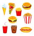 fast food restaurant lunch menu watercolor set vector image