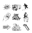 Fire safety and means of salvation Icons set vector image vector image