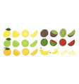 fruit set in different condition isolated white vector image