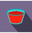 Glass of red apple juice flat icon vector image vector image