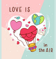 greeting card with love icons for valentines day vector image vector image