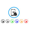 hand click smartphone rounded icon vector image vector image