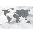 Hand Drawn World Map on Crumpled Paper Background vector image vector image