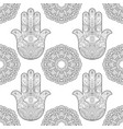 hand of fatima with mandala seamless pattern vector image vector image