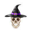happy halloween element skull in witch hat vector image