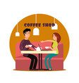 happy young couple working in coffee shop vector image