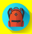 icon of bright red school or travel backpack vector image vector image