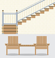 Interior Bricks Wall With Stairs And Wooden Chairs vector image vector image