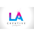 la l a letter logo with shattered broken blue vector image