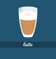 latte coffee cup with milk foam vector image