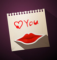 Love You Title with Heart and Mouth on Paper vector image