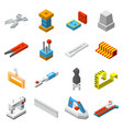 lowpoly sewing needlework isometric icons set vector image