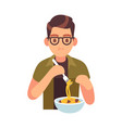 man eating meal hungry male character vector image