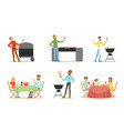 men and women on barbecue vector image vector image