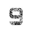 number nine symbol 9 textured font grunge design vector image vector image