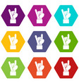 rock and roll hand sign icon set color hexahedron vector image vector image