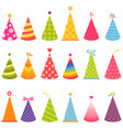 set colorful birthday hats vector image vector image