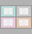 set of wedding invitations postcards greeting vector image
