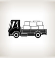 silhouette cargo truck with boxes isolated vector image
