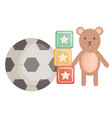 soccer balloon and toys entertainment square frame vector image