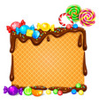 waffles in chocolate and lot bright lollipops vector image vector image