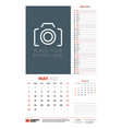 wall calendar planner template for may 2021 week vector image vector image