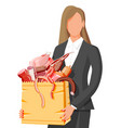 woman with shopping supermarket bag full meat vector image