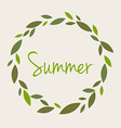 Word summer in a round wreath branches leaves Ty