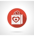 Love shopping bag round red icon vector image